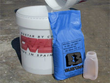 expansive grout product and mixing container